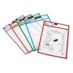 Reusable Write & Wipe Clean Pockets (set of 5)